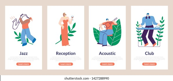 Season Poster Jazz, Reception, Acoustic, Club. Flat Man Playing Saxophone. Woman in Evening Dress with Glass Wine. Guitar Player Picks Up Chord. Dj Works at Club. Vector Illustration