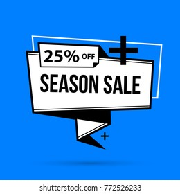 Season sale banner template in black and white style on bright blue background