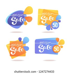 Season Sale stickers collection, isolated on white background