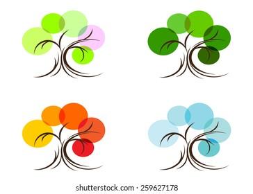 season. tree four, spring, summer, autumn and winter