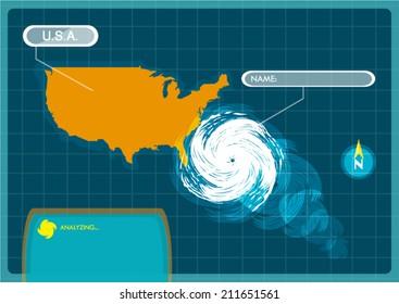 Seasonal Atlantic Tropical Hurricane moving to the USA. Editable Clip Art.