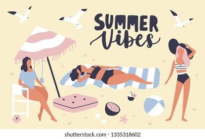 Seasonal card template with women dressed in swimwear sunbathing on beach and Summer Vibes phrase handwritten with cursive calligraphic font. Vacation at seaside resort. Flat vector illustration.