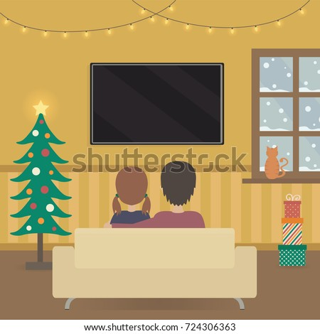seasonal christmas interior decoration illustration man and woman sitting on the sofa watching tv vectors