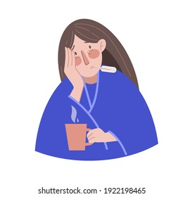 Seasonal cold, flu, malaise, fever, illness. Sick woman with a thermometer and a cup of hot drink. Vector stock illustration in flat style.