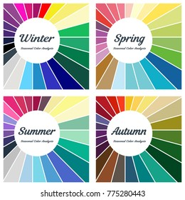 Seasonal color analysis. Set of different types of female appearance. Winter, Spring, Summer, Autumn