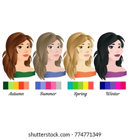 Seasonal color analysis. Set of vector girls with different types of female appearance