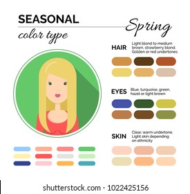 seasonal color analysis warm color palette stock vector royalty
