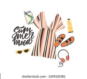 Seasonal composition with Summer Mood slogan and elegant stylish beachwear, sunglasses, cocktail, headphones and sunscreen cream on white background. Flat cartoon colorful vector illustration.