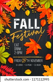 Seasonal fall festival poster or flyer with autumn foliage of maple, oak, elm, chestnut and autumn berries on wooden background.