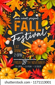 Seasonal fall festival poster or flyer with autumn foliage of maple, oak, elm, chestnut, nuts, pumpkin, wheat and autumn berries on wooden background.