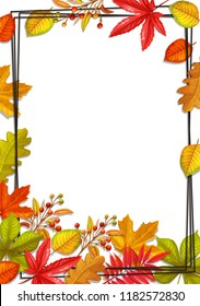 Seasonal fall frame with autumn foliage of maple, oak, elm, chestnut and autumn berries. Vector illustration.