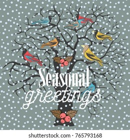 Seasonal greetings. Winter tree with colorful birds sitting on it. Vector illustration on light green background.