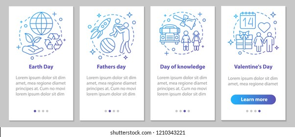 Seasonal holidays onboarding mobile app page screen with linear concepts. Back to school, February 14th, Earth and Father's Days steps instructions. UX, UI, GUI vector template with illustrations