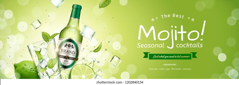 Seasonal mojito banner ads with flying ice cubes and green leaves on glittering background, 3d illustration
