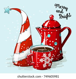 Seasonal motive, abstract christmas tree. red cup of coffee and vintage tea pot, with text Merry and Bright, vector illustration, eps 10 with transparency