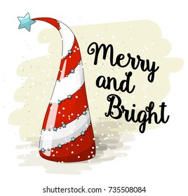 Seasonal motive, abstract red and white christmas treewith text Merry and Bright, vector illustration, eps 10 with transparency