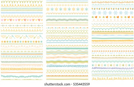 Seasonal ornaments. Doodle patterns. Decorative design elements. Ribbons, borders, dividers, patterns set. Hand drawn brush strokes, lines collection.