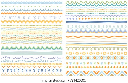 Seasonal ornaments. Doodle patterns. Decorative design elements. Ribbons, borders, dividers, patterns set. Hand drawn brush strokes, lines collection