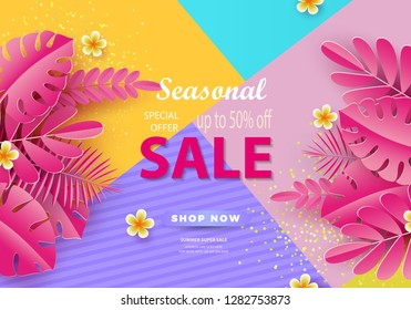 Seasonal sale background for banners, Pink palm leaves on a bright background.Season discounts. Template for flyer, invitation, poster, brochure, discount on voucher.Vector illustration