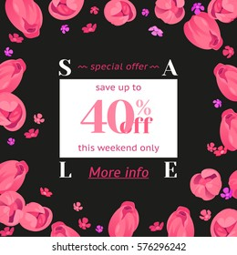 Seasonal sale banner. Spring holidays frame, white text, flowers. Abstract woman vector decorated frame, isolated tulips. Hot limited offer 40% off. Mothers day, Easter background, 8 March girl design