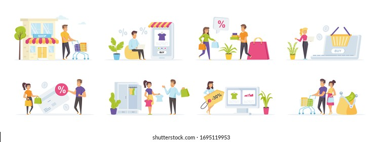 Seasonal shopping set with people characters in various scenes creator kit and situations. Shoppers with shopping bags and full supermarket trolley. Bundle of shopaholics with purchases.