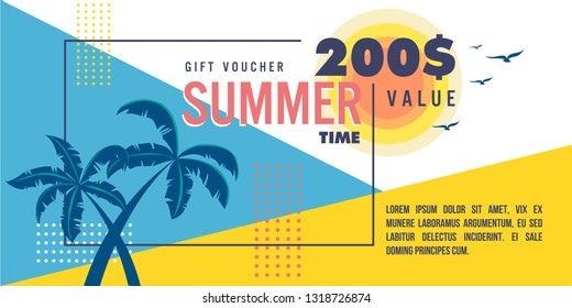 Seasonal Summer Gift Voucher template. Design of coupon usable for invitation and ticket. Vector illustration with discount offer. - Images vectorielles