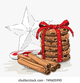 Seasonal theme, stack of brown cookies, christmas candy cane, cinnamon sticks and abstract white star on bright background, vector illustration, eps 10 with transparency