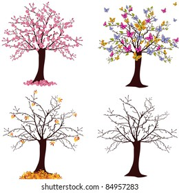 seasonal trees - vector