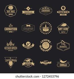 Seasoning elements logo icons set. Simple illustration of 16 seasoning elements logo vector icons for web