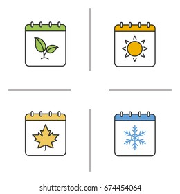 Seasons calendar color icons set. Spring, summer, autumn, winter time. Four seasons. Isolated vector illustrations