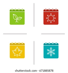 Seasons calendar glyph color icon set. Spring, summer, autumn, winter time. Four seasons. Silhouette symbols on white backgrounds. Negative space. Vector illustrations
