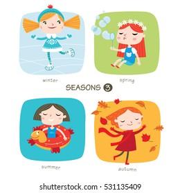Seasons child's outdoor activities. Part 3. Happy childhood. Vector set on colored backgrounds.