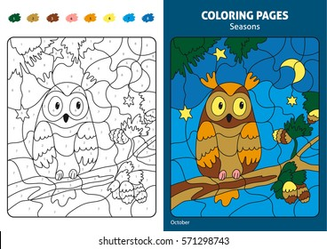 Seasons coloring page for kids. Printable design coloring book. Coloring puzzle with numbers of color. Black and white draw with color example. Coloring book. Color numbers book. October month. Owl.