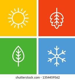 Seasons flat vector icons. Summer, autumn, winter, spring flat vector icons