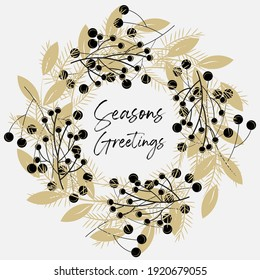 Seasons Greatings wreath vector pattern on a light background