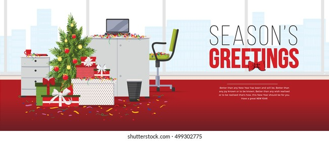 Seasons greeting happy New Year card. Christmas tree, confetti and gift boxes in modern office interior with designer desktop, laptop, chair, flat design. Vector illustration. Working place in office