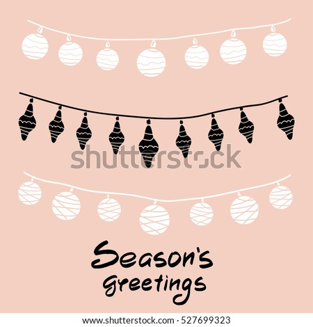 Seasons greeting text holiday greeting background stock vector seasons greeting text holiday greeting background with festive garland scandinavian holiday card hand m4hsunfo