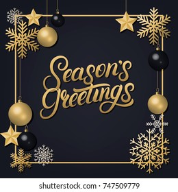 Seasons Greetings 2018 hand written lettering with golden decoration ornament. Frame with snowflakes and balls. Trendy design. Premium luxury Christmas card. Black background. Vector illustration.
