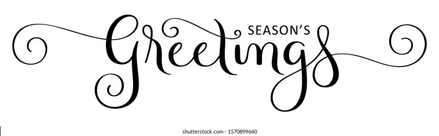 SEASON'S GREETINGS black vector brush calligraphy with flourishes