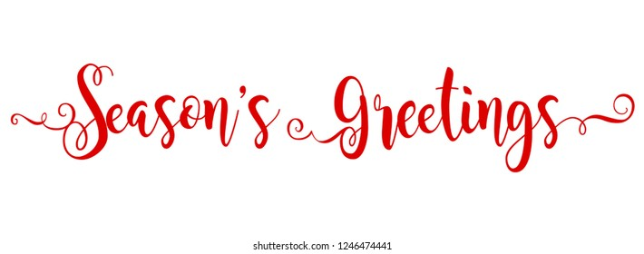 Season's Greetings brush calligraphy vector banner red color