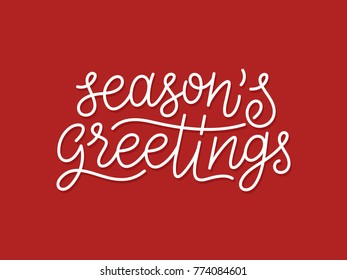 Seasons greetings calligraphic line art style lettering quote on red background. Gift card design with wishes for winter holiday. Vector modern typography