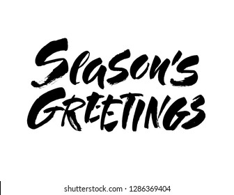 Seasons greetings calligraphy lettering text on white background with vintage paper texture. Retro greeting card for Christmas and New Year holidays. Vector background