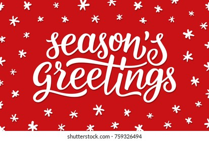 Seasons greetings calligraphy lettering text on red background with white doodle snowflakes. Retro greeting card for Christmas and New Year holidays. Vector background