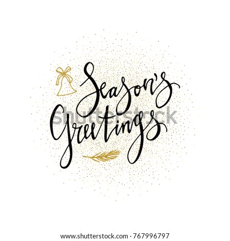Seasons greetings card calligraphy phrase gold stock vector royalty seasons greetings card calligraphy phrase with gold glitter present modern lettering new year m4hsunfo