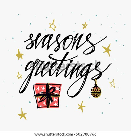 Seasons greetings card hand lettering calligraphic stock vector seasons greetings card hand lettering calligraphic inscription by brush for christmas new year greeting m4hsunfo