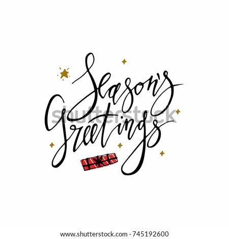 Seasons greetings card stars christmas present stock vector royalty seasons greetings card with stars and christmas present hand lettering calligraphic inscription by brush for m4hsunfo