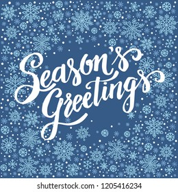 Season`s Greetings, christmas background with snowflake frame, winter wreath, template for greeting card, invitation, poster.