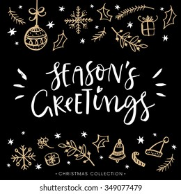 Seasons greetings images stock photos vectors shutterstock seasons greetings christmas greeting card with calligraphy hand drawn design elements handwritten modern m4hsunfo