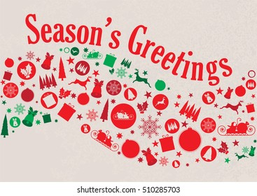 Season's Greetings Collage of Christmas Elements Red and Green