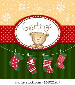 Seasons Greetings - cute greeting card with Teddy bear
